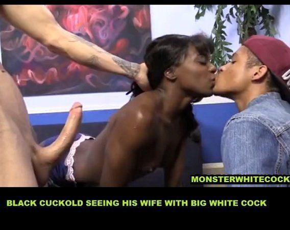 Black Cuckold Seeing His Wife with Big White Cock