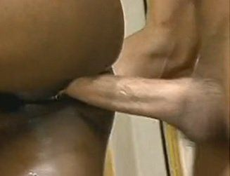 Black Bitch with Huge Tits Taking a Big White Cock