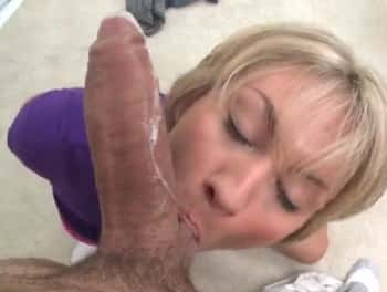 Blonde Teen Makes Hot Blowjob On Monster Cock