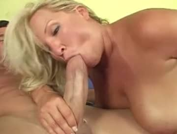 Thick White Cock Eating Busty Blonde Cougar