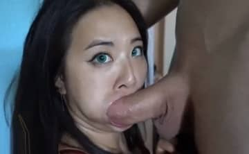 Asian Green Eyes Fucks Big White Dick Amateur