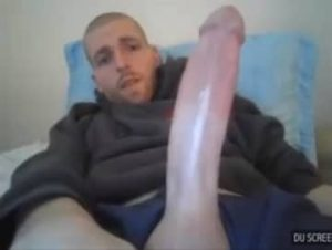 Bald Man Jerking 11 Inches Of White Cock
