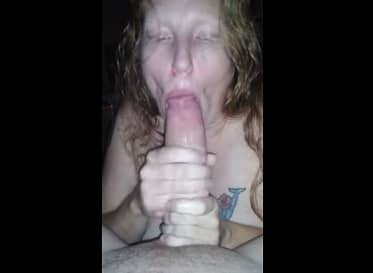 Tattooed Blonde Sucking 10 inches Cock