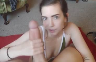 Young girl measuring and sucking Giant Cock