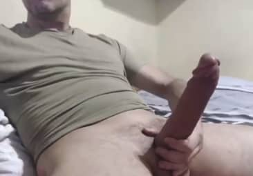 Hot Guy Shows His Huge White Cock Solo